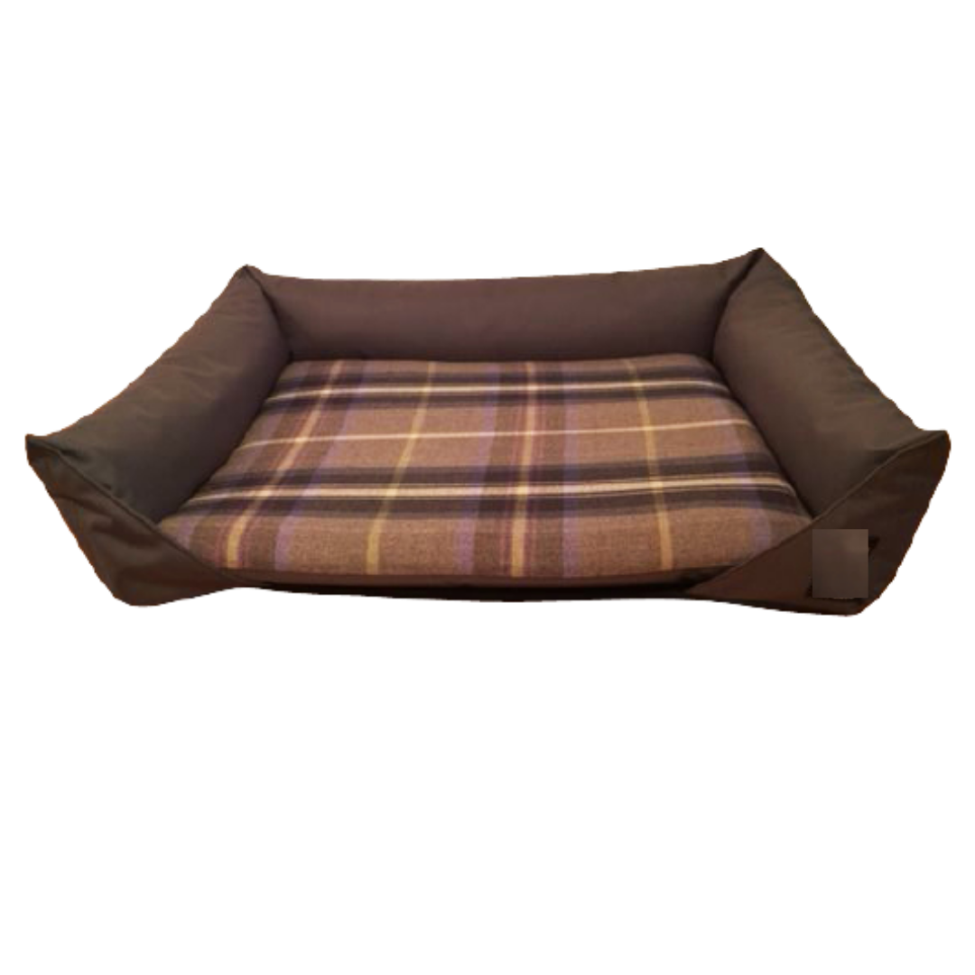 Glen Lock Check Drop Front Dog Bed With Bolsters